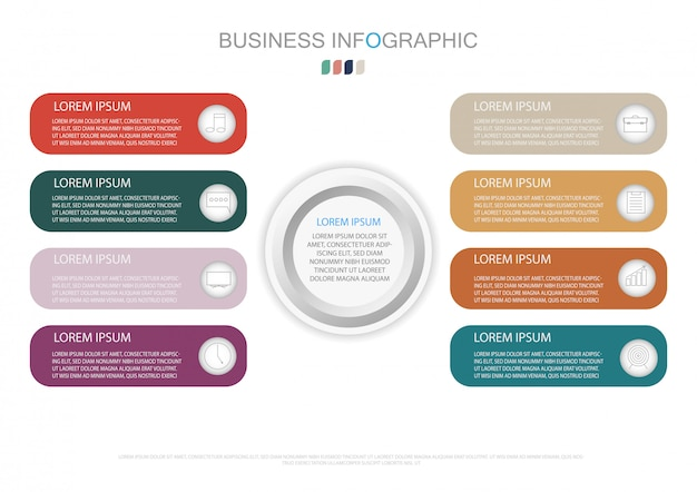 Modelo de infográfico com etiqueta de papel 3d e 8 opções