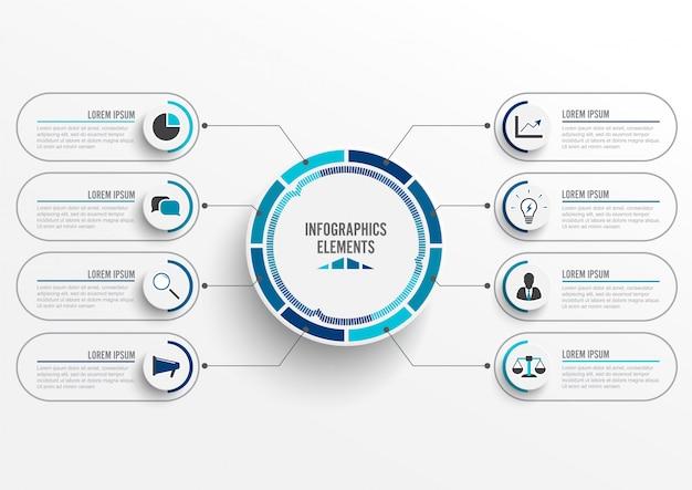 Modelo de infográfico com etiqueta de papel 3d