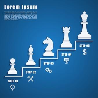 Modelo de infográfico com figuras e ícones de xadrez, estratégia de negócios, conceito de planejamento