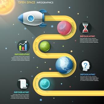 Modelo de infográfico com foguetes e planetas