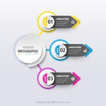 Modelo de infográfico com formas coloridas