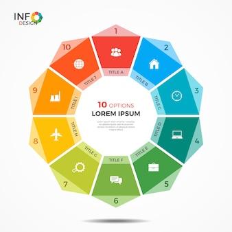 Modelo de infográfico com gráfico de círculo de 10 opções. os elementos deste modelo podem ser facilmente ajustados, transformados, adicionados, excluídos e a cor pode ser alterada.