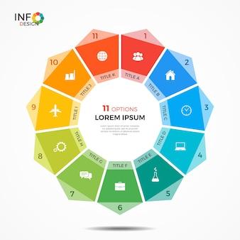 Modelo de infográfico com gráfico de círculo de 11 opções. os elementos deste modelo podem ser facilmente ajustados, transformados, adicionados, excluídos e a cor pode ser alterada.