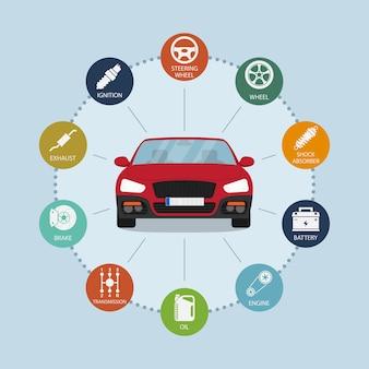 Modelo de infográfico com ícones de automóveis e peças de automóveis, conceito de serviço e reparo