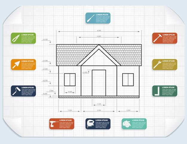 Modelo de infográfico com ícones de ferramentas e projeto de casa