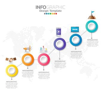 Modelo de infográfico com ícones de marketing digital.