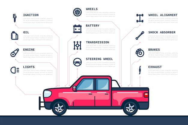 Modelo de infográfico com ícones de peças e carros