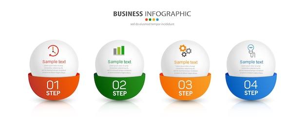 Modelo de infográfico com ícones e 4 opções ou etapas