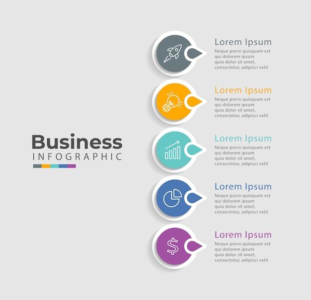 Modelo de infográfico com ícones e 5 opções ou etapas.