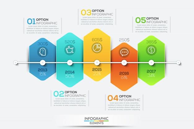 Modelo de infográfico com linha do tempo e 5 elementos hexagonais conectados