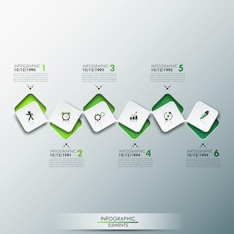 Modelo de infográfico com linha do tempo e 6 elementos quadrados conectados na cor verde