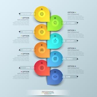 Modelo de infográfico com linha do tempo vertical e 8 elementos conectados