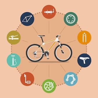 Modelo de infográfico com mountain bike e ícones, ilustração de estilo