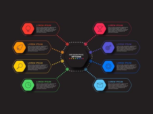 Modelo de infográfico com oito elementos hexagonais em fundo preto. visualização de processos de negócios modernos com ícones de marketing de linha fina. ilustração fácil de editar e personalizar.