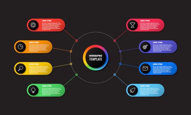 Modelo de infográfico com oito elementos redondos em fundo preto. visualização de processos de negócios modernos com ícones de marketing de linha fina. ilustração fácil de editar e personalizar.
