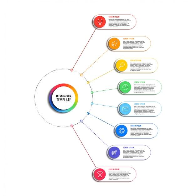Modelo de infográfico com oito elementos redondos no fundo branco. visualização de processos de negócios modernos com ícones de marketing de linha fina. ilustração fácil de editar e personalizar.