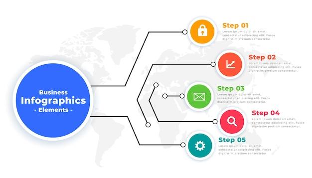 Modelo de infográfico com opções de fluxo de trabalho