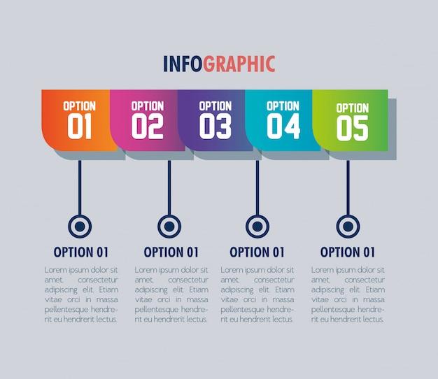 Modelo de infográfico com opções de números