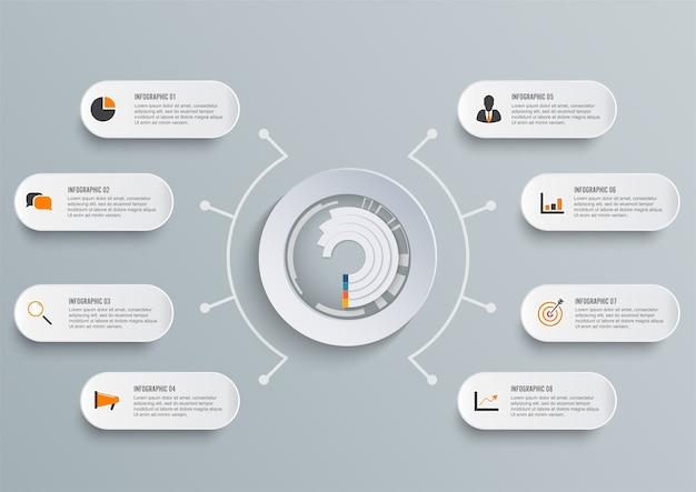 Modelo de infográfico com papel 3d