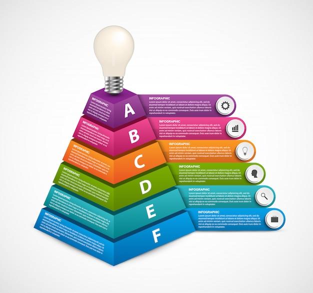Modelo de infográfico com pirâmide 3d.