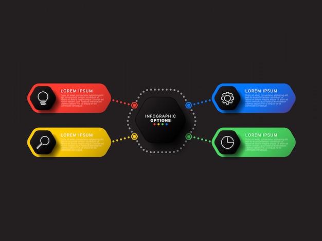 Modelo de infográfico com quatro elementos hexagonais em um fundo preto. visualização de processos de negócios modernos com ícones de marketing de linha fina.