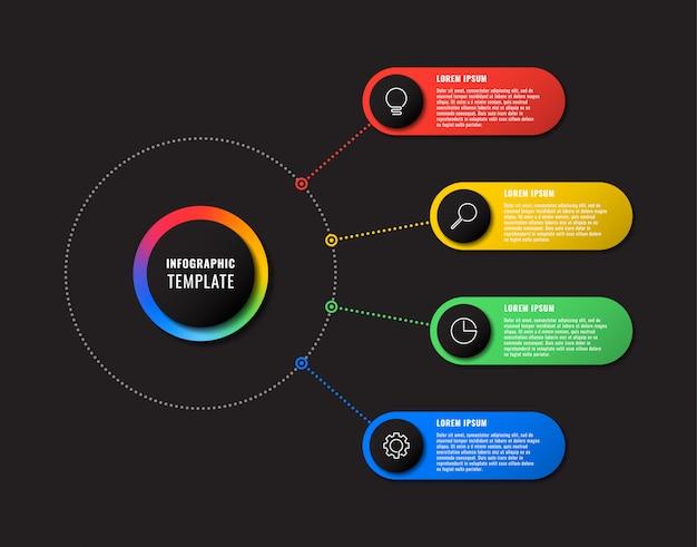 Modelo de infográfico com quatro elementos redondos em fundo preto. visualização de processos de negócios modernos com ícones de marketing de linha fina.
