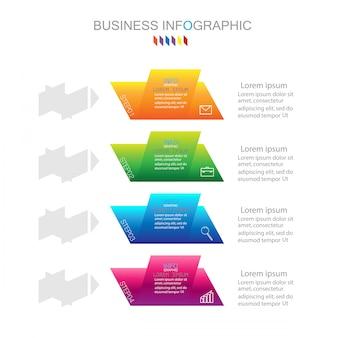 Modelo de infográfico com quatro etapas ou opções diagrama de processo
