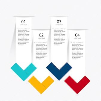 Modelo de infográfico com quatro etapas