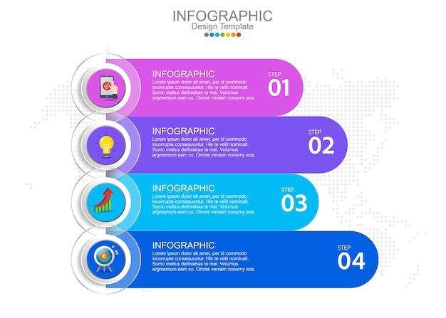 Modelo de infográfico com quatro opções e ícones.