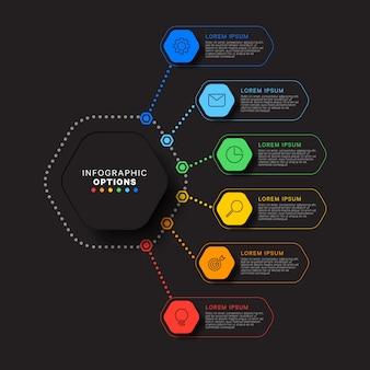 Modelo de infográfico com seis elementos hexagonais em fundo preto. visualização de processos de negócios modernos com ícones de marketing de linha fina. ilustração fácil de editar e personalizar.