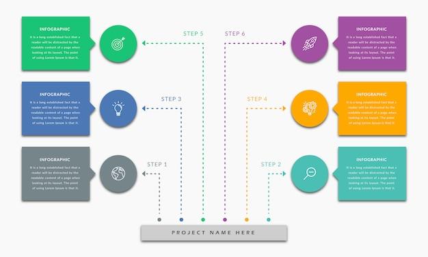 Modelo de infográfico com seis etapas