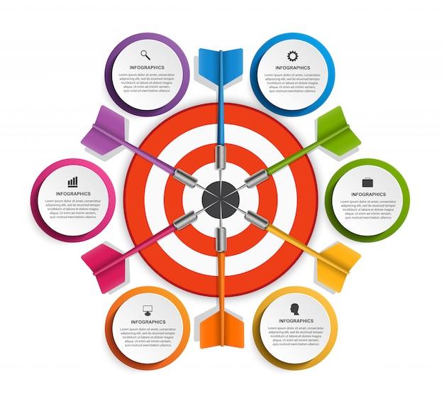 Modelo de infográfico com seis opções.