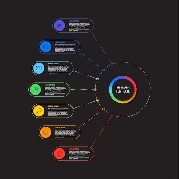 Modelo de infográfico com sete elementos redondos