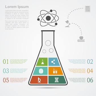 Modelo de infográfico com silhueta de frasco e ícones, ciência, pesquisa, conceito de desenvolvimento