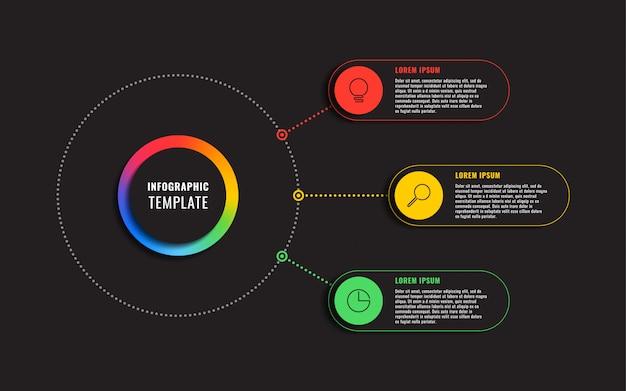 Modelo de infográfico com três elementos redondos em fundo preto. visualização de processos de negócios modernos com ícones de marketing de linha fina. ilustração fácil de editar e personalizar.