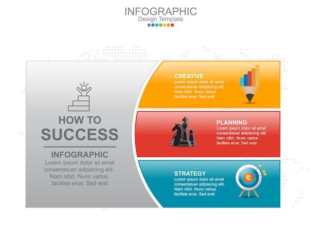 Modelo de infográfico com três opções e ícones.