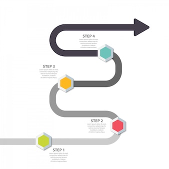 Modelo de infográfico. crescimento da estrada do conceito da seta de quatro etapas acima com pinos da cor.