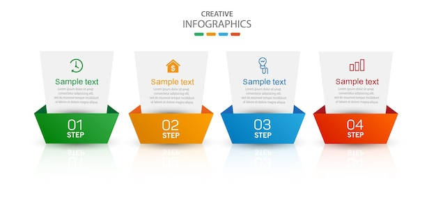 Modelo de infográfico criativo com ícones e 4 opções ou etapas