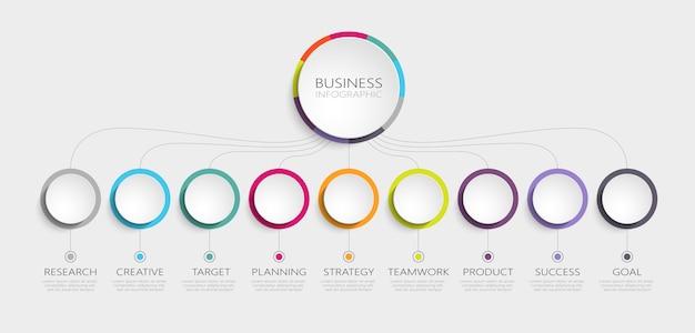 Modelo de infográfico d abstrato com etapas para o sucesso