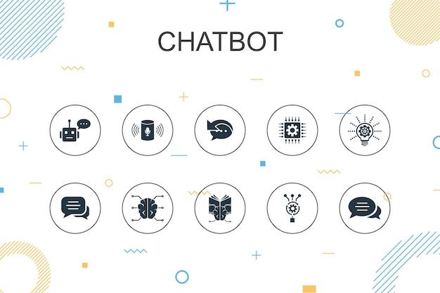 Modelo de infográfico da moda do chatbot. design de linha fina com assistente de voz, autoresponder, chat, ícones de tecnologia
