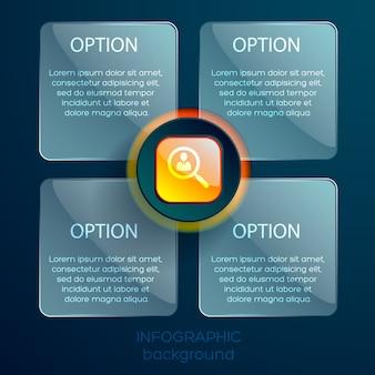 Modelo de infográfico da web com ícone laranja brilhante e quatro quadrados de vidro com texto isolado