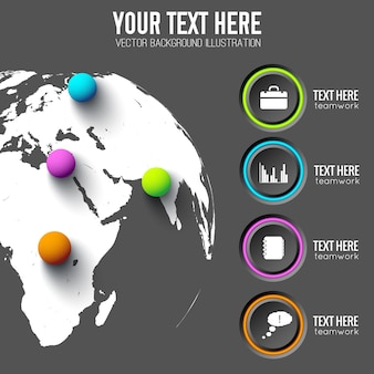 Modelo de infográfico da web com ícones de negócios de círculos cinza e bolas coloful no mapa global