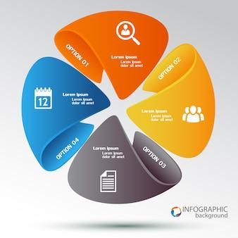 Modelo de infográfico da web com quatro opções e ícones de diagrama de ciclo colorido