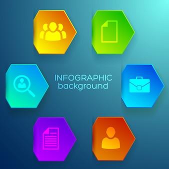 Modelo de infográfico da web de negócios com ícones e hexágonos brilhantes coloridos