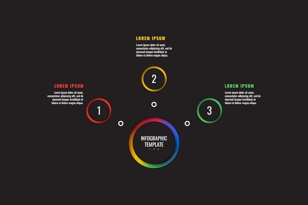 Modelo de infográfico de 3 etapas com papel redondo corta elementos sobre fundo preto. diagrama de processo de negócios. modelo de slide de apresentação da empresa.