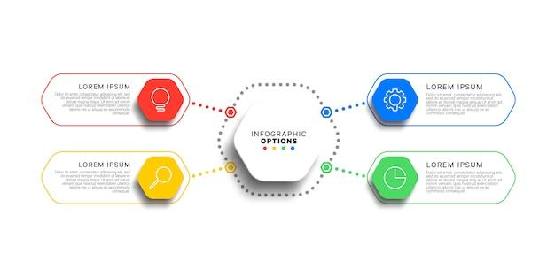 Modelo de infográfico de 4 etapas com elementos hexagonais realistas