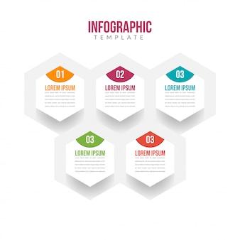 Modelo de infográfico de 5 etapas