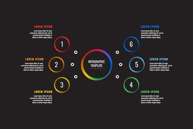 Modelo de infográfico de 6 etapas com elementos de corte de papel redondo