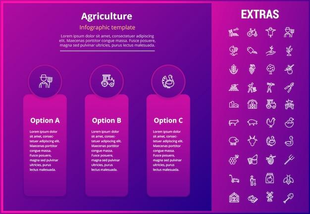 Modelo de infográfico de agricultura, elementos, ícones.