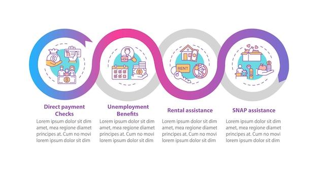 Modelo de infográfico de apoio a pagamentos e salários para pessoas